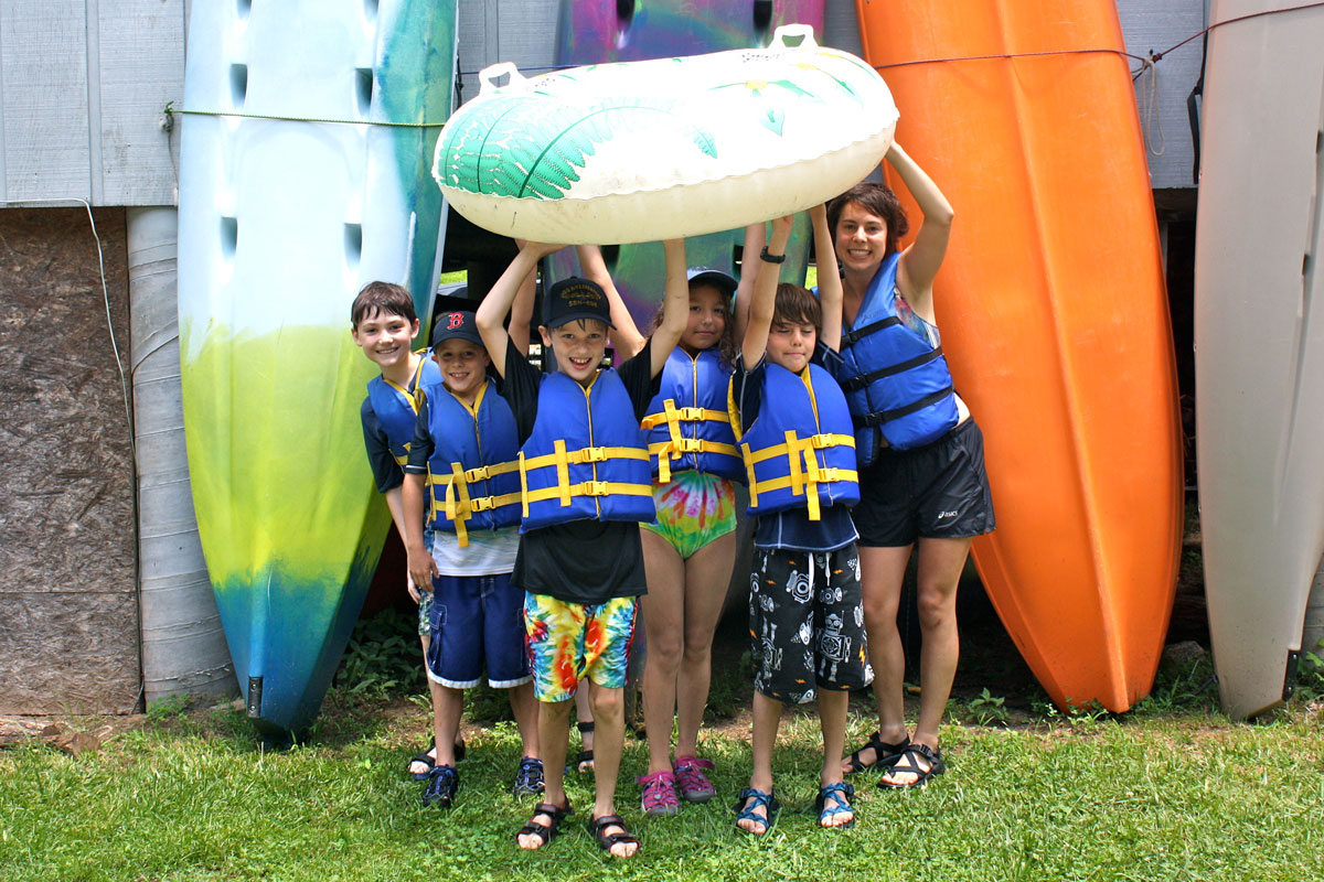 Campers ready to go tubing